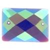 Glitter Sew-on Stone 10pcs Rectangle 18x25mm Purple Aurora Borealis
